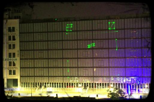 Pong sur la façade de la Médiathèque ? La performance sera retentée samedi soir (Photo Cédric Lutz)