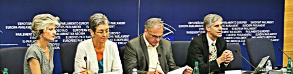 Gerald Häffner (à droite) et Ulrike Lunacek (en blanc), deux eurodéputés écologistes prêts à reprendre le flambeau laissé par le député Fox (Photo JFG / Rue89 Strasbourg / cc)