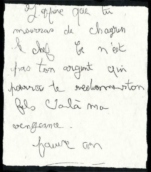 Lettre du corbeau envoyée aux parents Villemin suite à la mort de leur fils Grégory le 16 octobre 1984. (doc remis)
