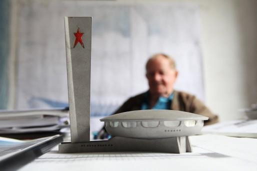 La maquette du siège du parti de Buzludzha imaginé par Georgi Stoilov.
