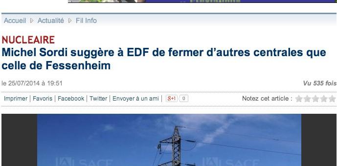 Un député UMP plaide pour éviter la fermeture de la centrale de Fessenheim