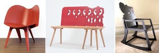 """Chaise """"l'Alsacienne"""", V8 Designers - Banc """"Lignée"""", Philippe Riehling – fauteuil à bascule """"Hopla"""", Sandrine Ziegler-Munck (doc. remis)"""