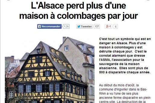 L'Alsace perd plus d'une maison à colombages par jour