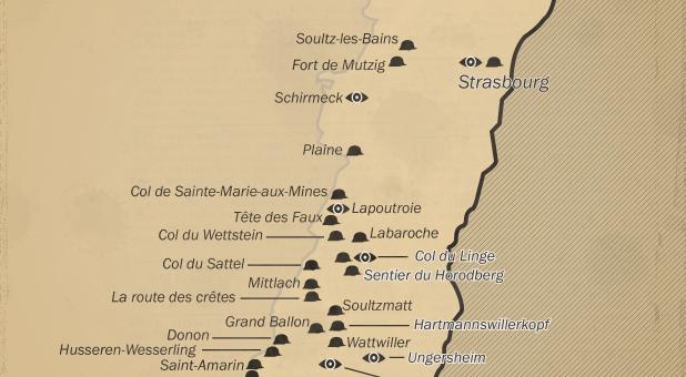 Une carte des vestiges de la Grande Guerre en Alsace