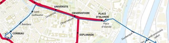 Les itinéraires de la navette Ososphère de la CTS (doc remis)