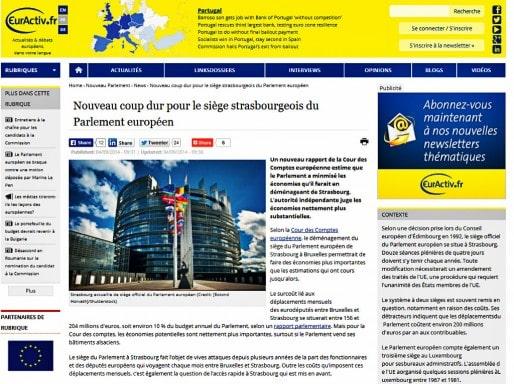 La Cour des comptes européennes estime à 616 millions le coût d'un établissement du Parlement européen à Strasbourg (capture d'écran Euractiv)