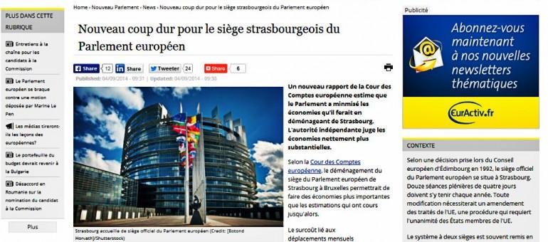 114 millions par an, le surcoût des deux sites du Parlement européen