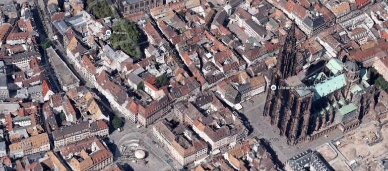 Strasbourg en relief sur Google Maps