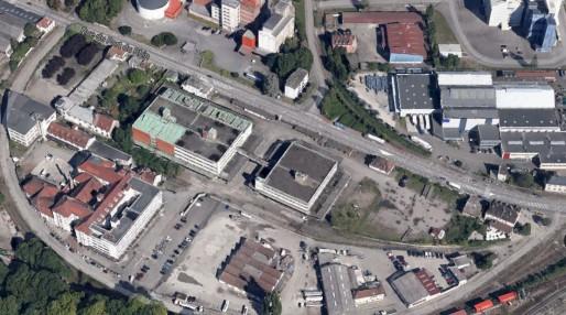 Vu en 3D reconstituée du bâtiment du siège historique de Coop Alsace (doc Google Maps)