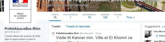Le profil de la préfecture d'Alsace et du Bas-Rhin sur Twitter (capture d'écran)