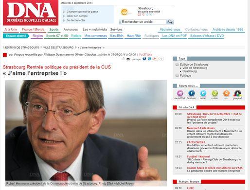 Robert Herrmann espère réaliser des économies pour préserver le budget d'investissement de la CUS (capture d'écran dna.fr)