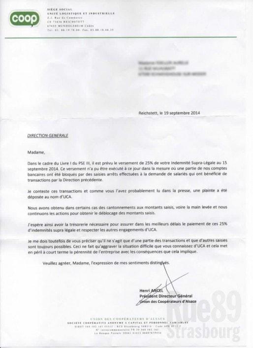 Lettre envoyée à certains anciens salariés les avertissant que leurs indemnités ne seraient pas versées à la date prévue (doc remis)