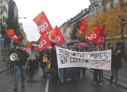 Manifestation du personnel des médiathèques le 5 novembre (document remis)