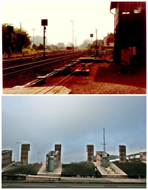 """En haut : vue prise de la gare de marchandises de Neudorf (début 1980'), avec le CA dans le fond (Récup. photo Ecocité Strasbourg). En bas : pont Konrad Adenauer et ses """"dix fontaines"""" à sec pour l'hiver (Photo Marie Marty)"""