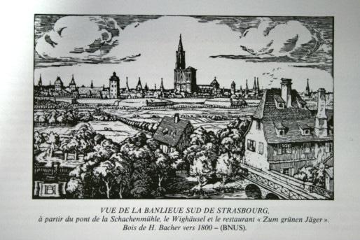 """Route de l'Hôpital, ancien tronçon nord de la route de Colmar (Source Georges Schwenk, in """"Aspects des faubourgs"""")"""