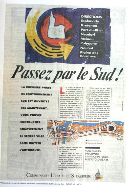 """Publicité de la CUS à l'occasion de l'ouverture à la circulation du contournement sud en 1992 (Source : """"Neudorf, nouveau village, nouvelle ville"""", Archives Ville et CUS)"""