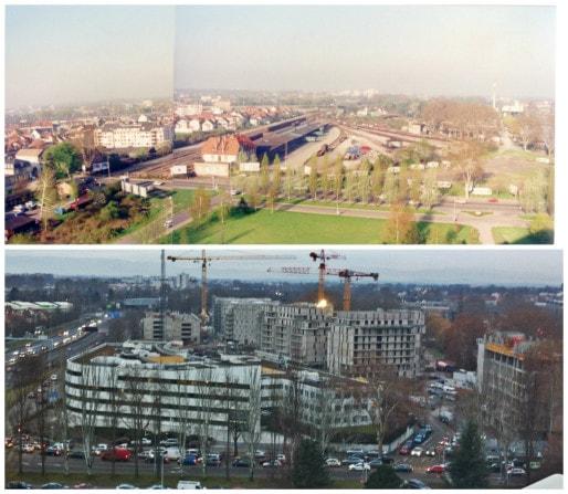 En haut : sud du Heyritz / nord du Schluthfeld, où était située la gare de marchandises de Neudorf jusqu'en 1985 (Récup. photo Ecocité Strasbourg). En bas : Hôtel de police et quartier du Heyritz en construction - automne 2012 (Photo Marie Marty)