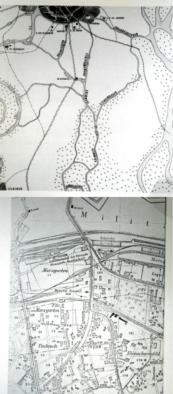 """Plan du haut : la route de l'Hôpital au XIIIème siècle. Plan du bas : la route en 1875 - on y découvre l'enchevêtrement de voies ferrées au nord (in """"Aspects des faubourgs"""", Georges Schwenk)"""