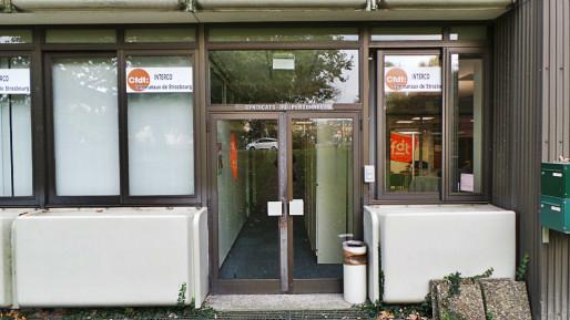 Les locaux de la CFDT, au rez-de-chaussée du bâtiment place de l'Etoile (photo JFG Rue89 / Strasbourg)