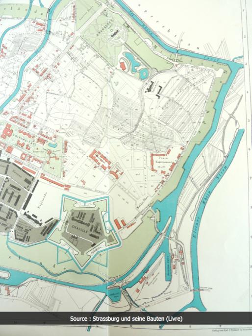 Quartier du Conseil des Quinze au XIXème siècle, entre Citadelle Vauban, terrains militaires et Orangerie (Capture Archi-Strasbourg)
