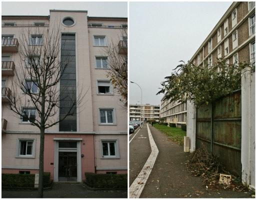 """Immeubles années 1950 à proximité du boulevard d'Anvers, face au dernier bâtiment de la Cité, hors de ses limites """"naturelles"""" (Photos MM)"""
