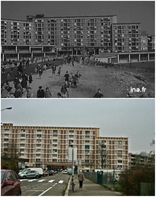 Espace ouvert en 1954 (Ina), il s'est résidentialisé aujourd'hui : les écoles sont fermées, le passage de la rue est sécurisé (Photo MM)