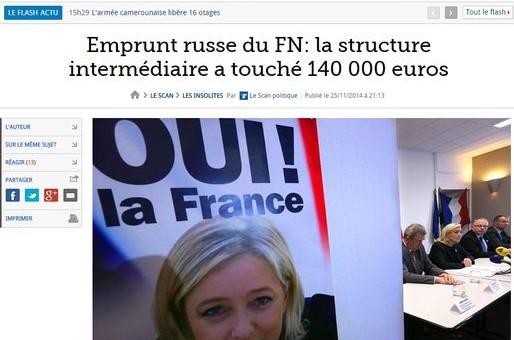 Schaffhauser a reçu 100000€ pour avoir été l'intermédiaire de l'emprunt russe du FN