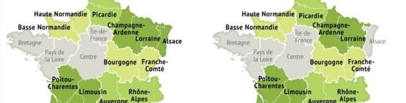 La carte des régions adoptées par l'Assemblée nationale (à gauche) en juillet et celle par le Sénat (à droite) en octobre. (Infographie réalisée par le Figaro)
