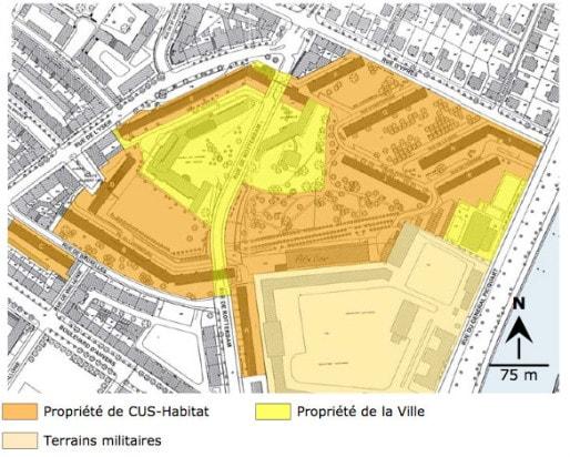 Parcellaire récent de la Cité Rotterdam (Mémoire de Laurent Kœnig, 2005)