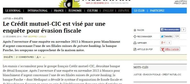 Une enquête pour fraude fiscale envers le Crédit mutuel-CIC
