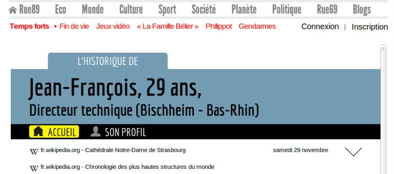 L'historique web de Jean-François, habitant de Bischheim