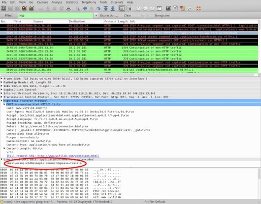 Cerclé en rouge, le nom et le mot de passe utilisés pour s'enregistré à Wifilib (capture d'écran)