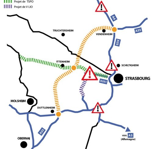 Selon Alsace Nature, le GCO ne fera qu'aggraver la circulation dans l'agglomération strasbourgeoise (doc Alsace Nature)