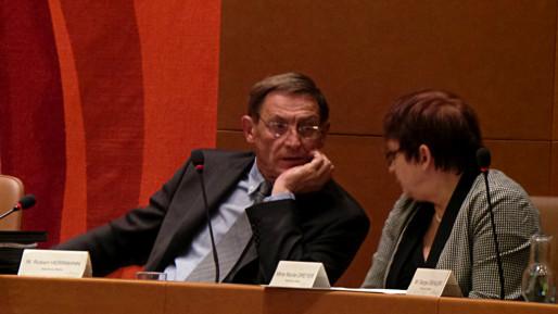 Robert Herrmann et Nicole Dreyer lors du conseil municipal de décembre 2014 (Photo PF / Rue89 Strasbourg / cc)
