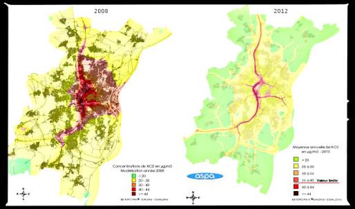 Entre 2008 et 2012, les zones en dessous des pics d'alerte ont considérablement diminuées (document ASPA)