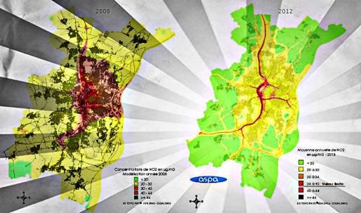 La pollution diminue, mais pas partout. Retrouvez la carte plus bas dans l'article. (document ASPA)