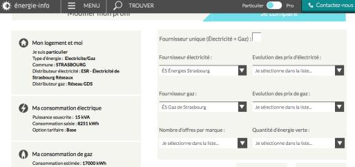 Comparateur d'offres de fournisseurs d'électricité et de gaz (Capture site Energie-info)