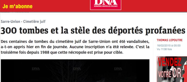 300 tombes profanées à Sarre-Union