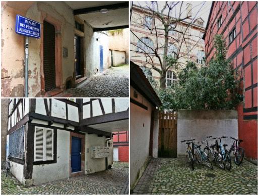 Dans le secteur, de nombreux immeubles apparaîssent encore vétustes - ici, impasse des Pénitents (Photos MM / Rue89 Strasbourg)