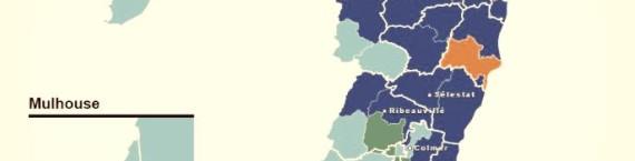 Carte des départementales en Alsace