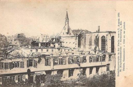 Eglise et orphelinat Sainte-Madeleine après l'incendie de 1904 (Carte postale Delcampe)
