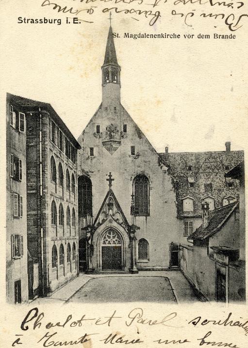 Entrée de l'église Sainte-Madeleine, avant l'incendie de 1904 (Crédit Arch-Strasbourg)