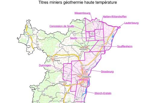 Les sites de géothermie profonde à haute température dans le Bas-Rhin. Source: DREAL