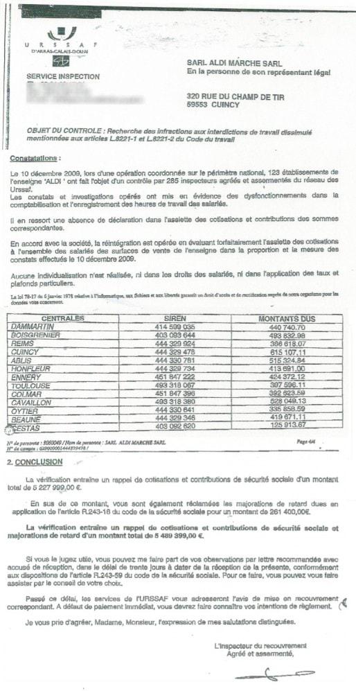 Extrait de la lettre envoyée par l'Urssaf à Aldi à la suite de leur procédure (document Rue89 Strasbourg)