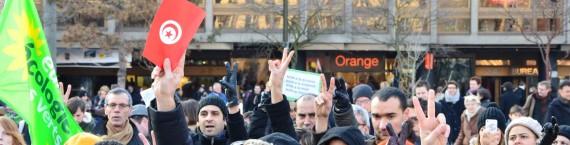 Rassemblement du 9 février 2013 à Strasbourg suite à l'assassinat de Chokri Belaid (photo Facebook)