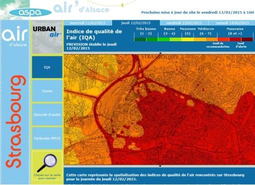 Le 13 février, la qualité de l'air à Strasbourg a été particulièrement mauvaise (capture d'écran)