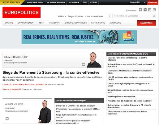 Europolitics révèle que Strasbourg se bouge pour garder son siège (capture d'écran)
