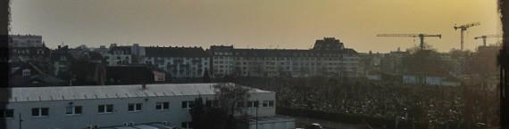 La couleur du ciel à Strasbourg est le résultat de la pollution atmosphérique. (photo JFG / Rue89 Strasbourg)