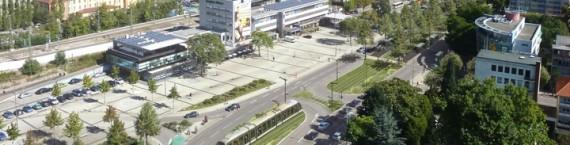 Principal point de discorde, l'emplacement de la gare routière qui ne sera pas au niveau de la gare. (Photomontage Egis / mairie de Kehl)