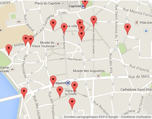 Les riverains de Bien Vivre Toulouse Centre ont réalisé une carte des points de tensions dans la ville. (Capture d'écran tirée du site de Bien Vivre Toulouse Centre)